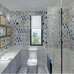 Gạch bông porcelain Sqa-PP108 ốp tường nhà tắm
