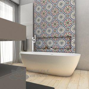 Gạch bông porcelain Sqa-PP133W trang trí nhà tắm