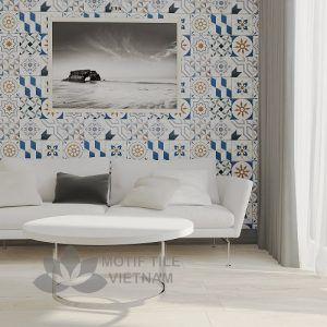 Gạch bông porcelain Sqa-PP108 ốp tường phòng khách
