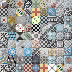 Gạch bông cổ điển tổng hợp nhiều hoa văn nhiều màu sắc