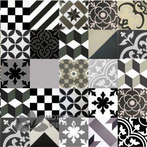 Gạch bônghoa văn tổng hợp màu trắng đen xám