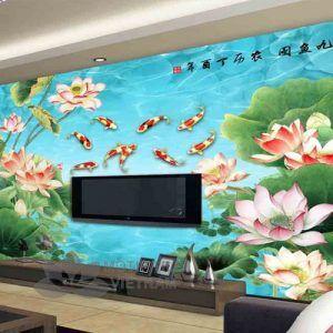 Gạch tranh phủ kính ốp tường 3d hoa sen