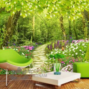Gạch tranh phủ kính ốp tường chủ để rừng xanh