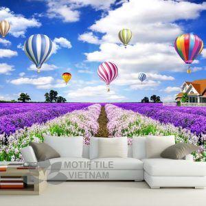 Gạch tranh phủ kính ốp tường kinh khí cầu và vườn hoa