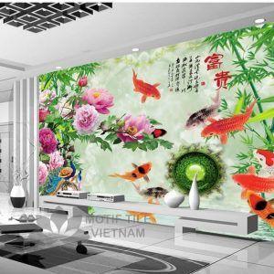 Gạch tranh phủ kính 3D ốp tường đàn cá
