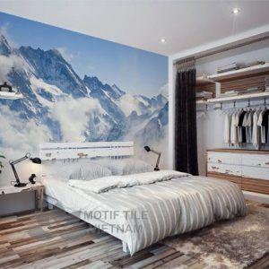 Gach tranh ốp tường 3D núi tuyết