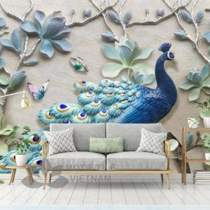 Gạch tranh phủ kính ốp tường chim công