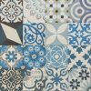 Gạch bông hoa văn tổng hợp màu trắng xanh dương