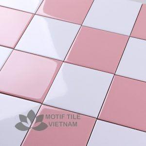 Gạch thẻ ốp tường subway hồng bóng phẳng 15x15cm SW1515(Pink)