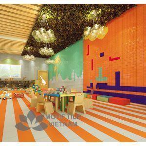 Gạch thẻ ốp tường subway cam bóng phẳng 15x15cm SW1515(Orange)