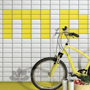 Gạch thẻ ốp tường subway trắng bóng vát 7.5x15cm SW75150V(White)