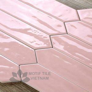 Gạch subway hồng bóng xẻ góc 7.5x30cm SW75300X(Pink)