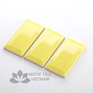Gạch thẻ ốp tường subway vàng bóng vát 7.5x15cm SW75150V(Yellow)