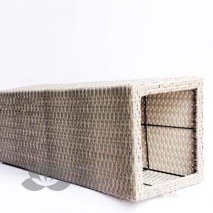Chậu cây văn phòng mây nhựa đan vuông vát MT-P003