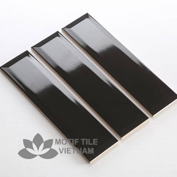 Gạch thẻ subway đen bóng vát 7.5x30cm SW75300V(Black)