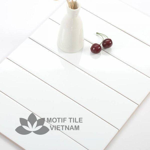 Gạch thẻ subway trắng bóng phẳng 7.5x30cm SW75300(White)