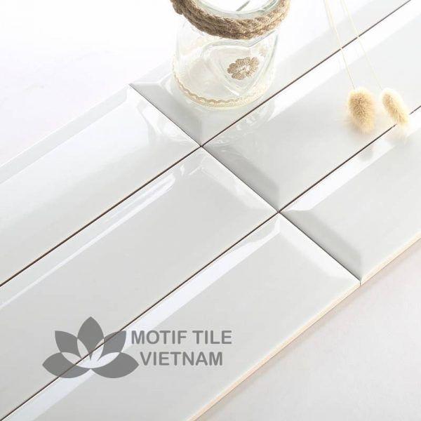 Gạch thẻ subway trắng bóng vát 7.5x30cm SW75300V(White)